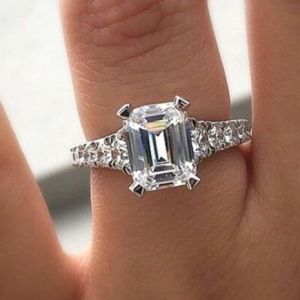 Excellent 2.00Ct Emerald White Diamond Engagement & Wedding Ring In 14k White Gold