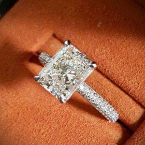 2.00Ct Radiant White Pave Diamond Luxury Wedding Ring Solid 14k White Gold