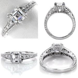 1.70Ct Asscher Cut White Diamond Engagement & Wedding Ring 925 Sterling Silver
