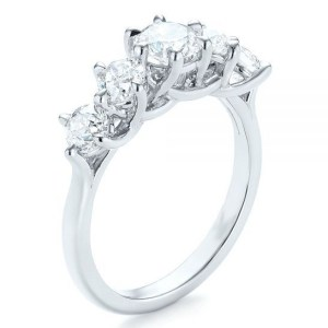 Solitaire 5 Stone White VVS1 Diamond 2 Ct Engagement Anniversary Ring 925 Sterling Silver