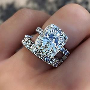 3.50Ct Radiant Cut Diamond Engagement Ring & Bridal Matching Band Set In 14k White Gold