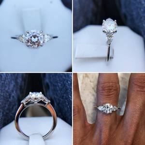 1.80Ct Brilliant Round Diamond Side Pear Stone Engagement Wedding Ring 925 Sterling Silver