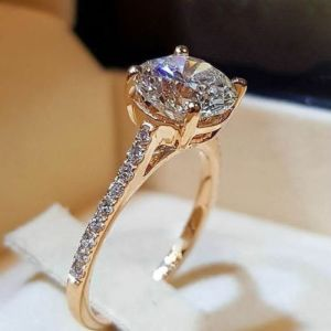 Forever One Round Diamond 2. Ct Solitaire Engagement Ring 14K Yellow Gold
