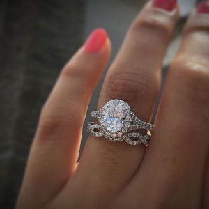 3.75Ct Real White Oval Diamond Engagement Wedding Ring Band Set 14K White Gold