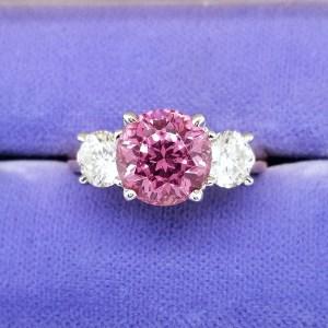 2.70Ct Round Cut Purple Pink Diamond Engagement Wedding Ring In 14k White Gold