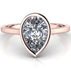 Certified 2.30Ct Pear Cut Moissanite Diamond Bezel Set Engagement Ring 14k Rose Gold