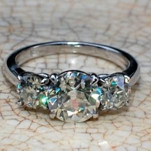 2.40Ct Forever 3 Stone Genuine Moissanite Classic Engagement Ring 14k White Gold