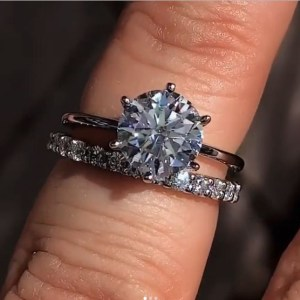 2.15Ct Round Cut Moissanite Solitaire Engagement Ring Wedding Band 14k White Gold