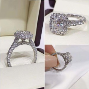 1.86Ct Cushion Cut Real Moissanite Diamond Engagement Ring Solid 14k White Gold