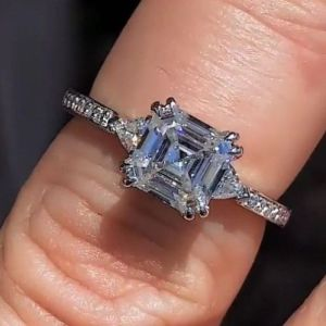 1.88Ct Asscher Cut Real Moissanite Beautiful Engagement Ring 14k White Gold