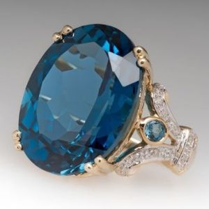 Huge 4.20Ct Oval Cut Blue Diamond Fancy Engagement Ring Solid 14k Yellow Gold