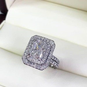 Unique Cushion 1.70Ct Real Moissanite Radiant Shape Engagement Ring Solid 14k White Gold