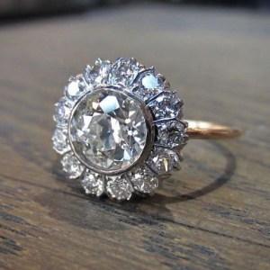 Bezel Set 2.00Ct Real Moissanite Flower Halo Fancy Engagement Ring 14k White Gold Over