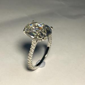 3.Ct Fancy Oval Cut Moissanite Pave Diamond Engagement Ring Solid 14k White Gold
