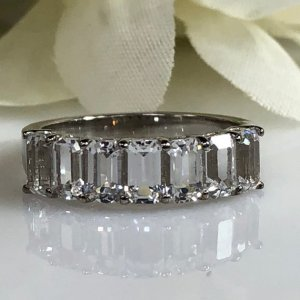 3.00Ct Emerald Cut White Diamond 7 Stone Eternity Wedding Band Ring Solid 14k White Gold