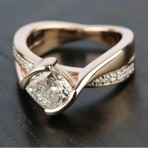 2.15Ct Cushion Cut Brilliant Diamond Fancy Engagement Ring Solid 14k Rose Gold