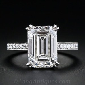 2.50Ct Emerald Cut Real Moissanite With Assent Engagement Ring Solid 14k White Gold