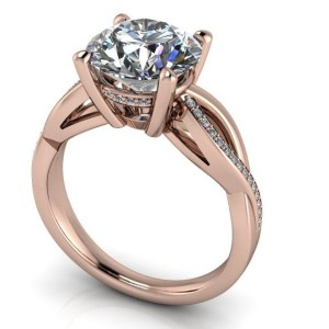 2.10Ct Round Cut Real Moissanite Twisted Solitaire Engagement Ring Solid 14k Rose Gold