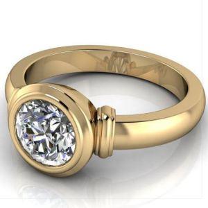 Bezel Set 1.89Ct Round Cut Moissanite Wedding Engagement Ring Solid 14k Yellow Gold
