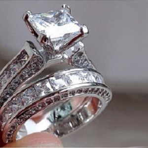 3.60Ct Princess Cut White Diamond Bridal Set Engagement Ring Solid 14k White Gold