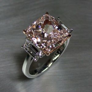 2.90Ct Light Pink Cushion Cut Diamond Fancy Engagement Ring 14k White Gold Over