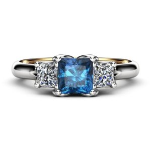 2.70Ct Princess Cut Blue Diamond 3 Stone Engagement Ring Solid 14k White Gold