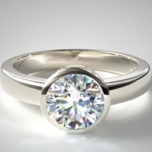 2.00Carat Round Cut Moissanite Bezel Set Engagement Ring Solid 14k White Gold