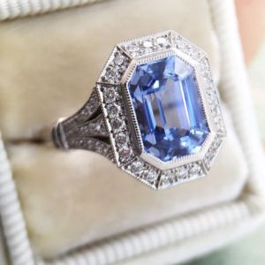 Art Deco 2.40Ct Emerald Cut Blue Diamond Bezel Engagement Ring Solid 14k White Gold