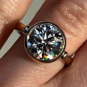 Certified 2.50Ct Bezel Round Cut Moissanite Wedding Engagement Ring 14k Rose Gold