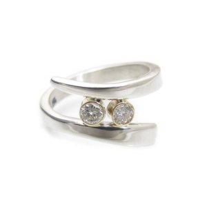 1.88Ct Round Cut Moissanite 2 Stone Bezel Set Engagement Ring Solid 14k White Gold Over