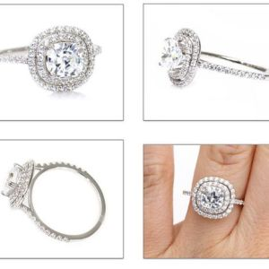 2.44Ct Excellent Cut Round Moissanite Double Halo Engagement Ring 14k White Gold