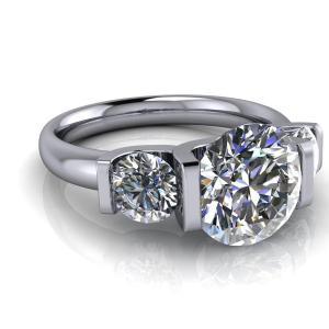 2.13Ct Excellent Cut Real Moissanite Half Bezel Engagement Ring Solid 14k White Gold