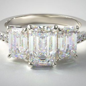 2.67Ct Emerald Cut Moissanite Solitaire 3 Stone Engagement Ring Solid 14k White Gold