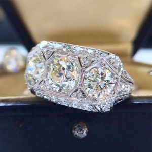2.00Ct Round Cut Three Stone Moissanite Engagement Ring Solid 14k White Gold