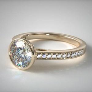 2.18Ct Bezel Set Round Cut Moissanite Wedding Engagement Ring Solid 14k Rose Gold