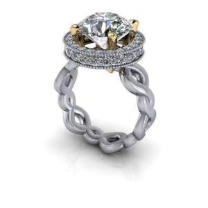 2.Ct Brilliant Cut Real Moissanite Classic Halo Engagement Ring Solid 14k White Gold