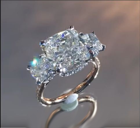 Certified 2 90ct Cushion Cut 3 Stone Diamond Luxury Engagement Ring 14k White Gold