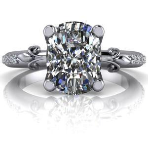 2.40Ct Cushion Cut Moissanite Wedding Engagement Ring Solid 14k White Gold