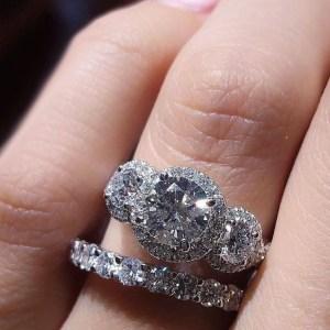2.05Ct Round Cut 3 Stone Brilliant Moissanite Halo Engagement Ring Set 14k White Gold