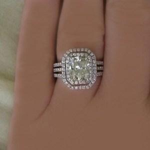 1.70Ct Off White Radiant Cut Moissanite Triple Shank Engagement Ring 14k White Gold
