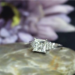 Forever 1.88Ct Princess Cut Solitaire Moissanite Best Engagement Ring 14k White Gold