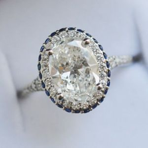 1.88Ct Oval Cut Moissanite Halo Sapphire Engagement Ring Solid 14k White Gold