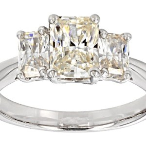 2.66Ct Radiant Cut Three Stone Solitaire Moissanite Engagement Ring 14k White Gold