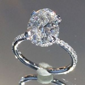 3.00Ct Oval Cut Moissanite Solitaire With Accent Engagement Ring Solid 14k White Gold