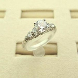 1.86Ct Brilliant Round Cut Moissanite Solitaire Engagement Ring Real 14k White Gold