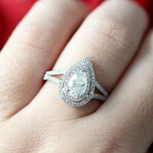 2.58Ct Pear Cut Moissanite Double Halo Split Shank Engagement Ring Solid 14k White Gold