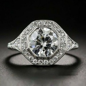 Antique Vintage 2.34Ct Round Moissanite Engagement & Wedding Ring In 925 Sterling Silver