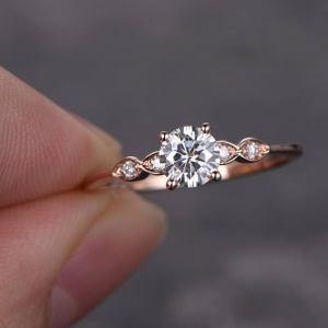 14k Rose Gold In 1.38 Ctw Near White Round Moissanite Fancy Engagement Ring