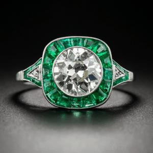Art Deco Vintage 1.68 Ct Bezel Round Moissanite Sapphire Halo Diamond Engagement Ring 14k Gold Plated