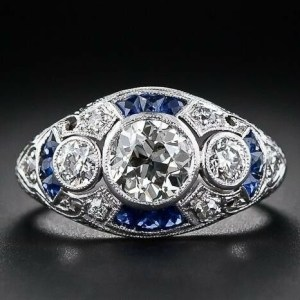 1.96 Ct Bezel 3-Stone Round Moissanite Vintage Engagement Ring Solid 14k White Gold